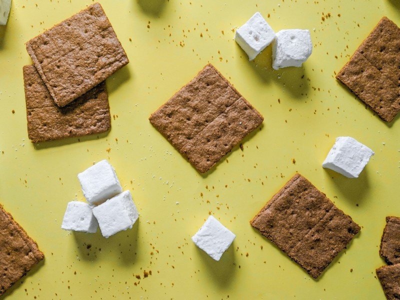 marshmallows and graham crackers for smores by Emily Hanka