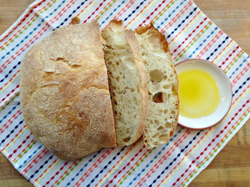 Paesano bread sliced with olive oil
