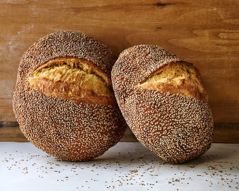 two rounds of sesame semolina