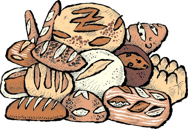 carton drawing of a pile of bread