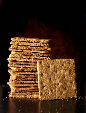 A stack of Bakehouse graham crackers made with freshly milled whole grain