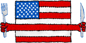 An American flag holding a fork and knife