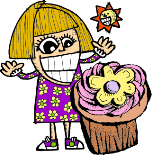 A drawing of a girl with a giant cupcake