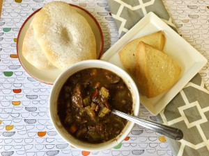 Beef stew with Guinness, baps, and shortbread
