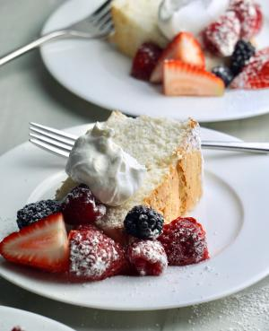 Fresh Berries on angel food cake with whipped cream